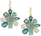 Carolee Gold-Tone Blue Stone and Crystal Flower Drop Earrings