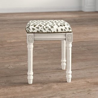 Bloomsbury Market Warrick Rustic Cheetah Linen Upholstered Vanity Stool Color: Smoky Gray