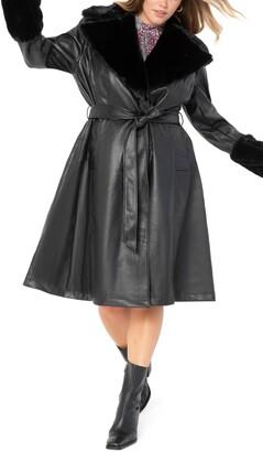 ELOQUII Fit & Flare Faux Leather Coat with Faux Fur Trim