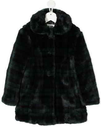 Bonpoint Faux-Fur Tartan-Check Coat