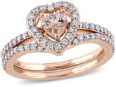 Zales 5.0mm Heart-Shaped Morganite and 1/2 CT. T.W. Diamond Frame Bridal Set in 10K Rose Gold