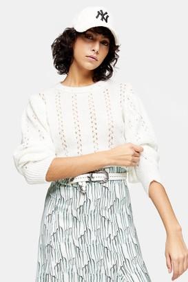 Topshop IDOL Ivory Pretty Pointelle Sweater