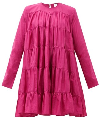 Merlette New York Soliman Tiered Cotton Mini Dress - Womens - Dark Pink