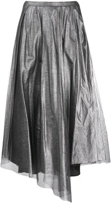 Brunello Cucinelli Metallic Asymmetric-Hem Skirt