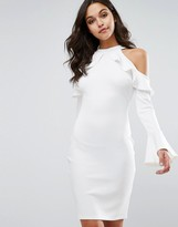Club L Cold Shoulder Midi Dress with Frill Detail