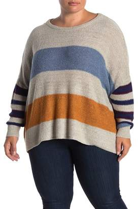 GOOD LUCK GEM Chenille Knit Striped Sweater (Plus Size)