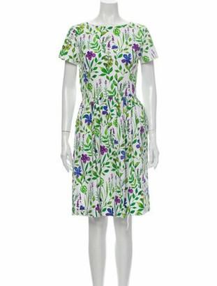 Oscar de la Renta Floral Print Knee-Length Dress Green