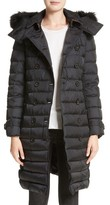 Burberry Women's Hooded Down Puffer Coat With Genuine Fox Fur Trim