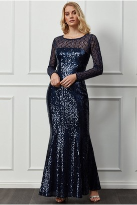 Goddiva Sheer Diamond Design Sequin Maxi Dress - Navy