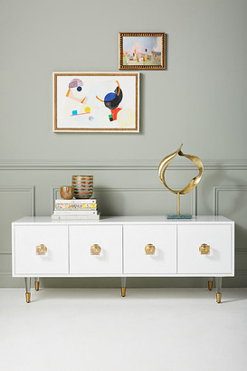 Anthropologie Lacquered Regency Media Console By in White