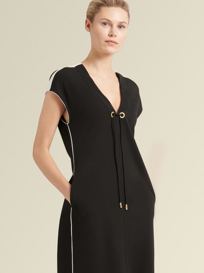 DKNY V-neck Dress With Contrast Piping