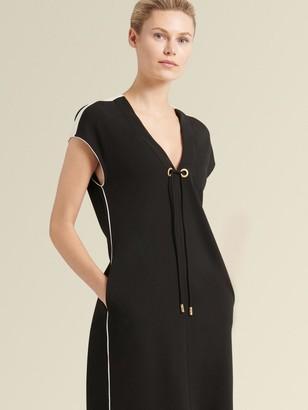 DKNY Donna Karan Women's V-neck Dress With Contrast Piping - Black - Size L