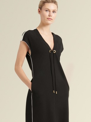 DKNY Donna Karan Women's V-neck Dress With Contrast Piping - Black - Size M