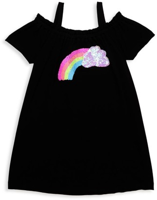 Design History Little Girl's Off-The-Shoulder Rainbow Dress