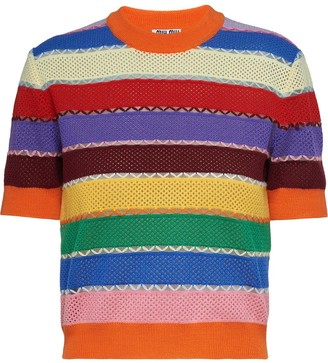 Miu Miu Striped Short-Sleeve Knitted Top