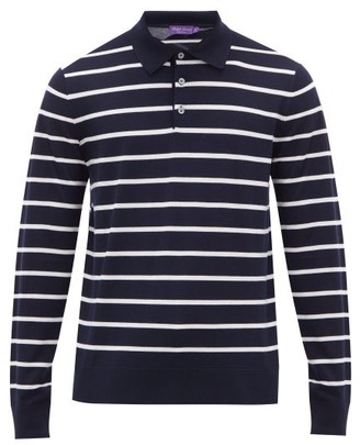 Ralph Lauren Purple Label Striped Knitted Wool Polo Sweater - Mens - Navy White