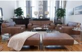 Elements Fine Home Furnishings Industrial 5-Piece Top Grain Leather Set Including Sofa, 2 Oversized Chairs, and 2 Oversized Ottomans In Chestnut