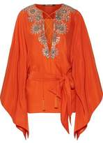 Roberto Cavalli Embellished Silk-Satin Blouse