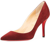 Christian Louboutin Apostrophy Suede 85mm Red Sole Pump, Burgundy