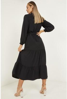 Quiz Chiffon Tiered Button Front Midaxi Dress - Black