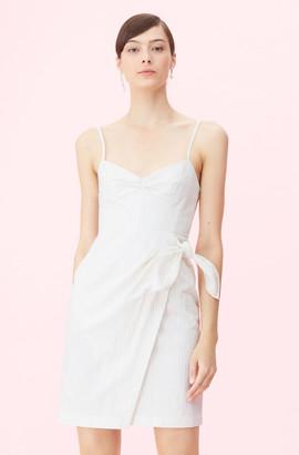Rebecca Taylor Pinstripe Linen Wrap Dress