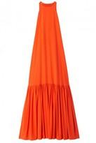 Tibi Silk Long Halter Dress in Blood Orange