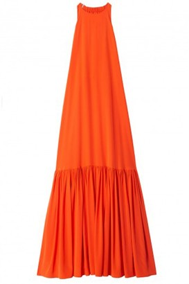 Tibi Silk Long Halter Dress in Blood Orange
