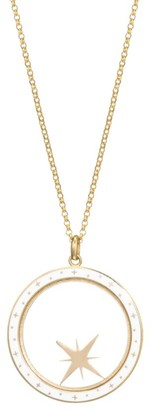 Bare Champleve 14K Yellow Gold & White Enamel Compass Shaker Pendant Necklace