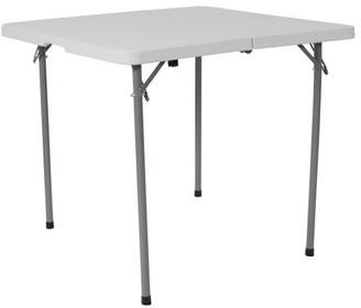 Flash Furniture 34'' Square Bi-Fold Granite White Plastic Folding Table with Carrying Handle