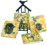 4 Square Resin Coasters with Metal Bird Stand