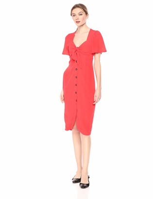 ASTR the Label Women's Cole Short Sleeve TIE Front Buttondown MIDI Dress Coral red xs