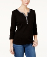 Karen Scott Petite Contrast-Trim Henley Top, Created for Macy's