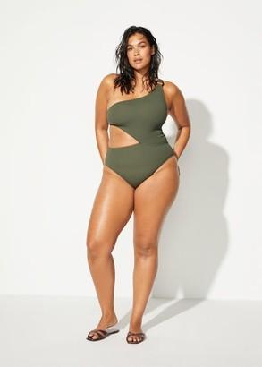 MANGO Violeta BY Buckle asymmetric swimsuit khaki - S - Plus sizes