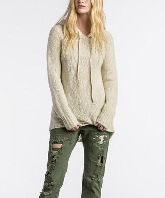 Mm Vintage MM Vintage Women's Pullover Sweaters CREAM - Cream Knit-Back Wool-Blend Hoodie - Women