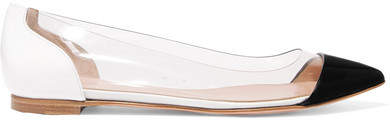 Gianvito Rossi Plexi Patent-leather And Pvc Point-toe Flats - Black