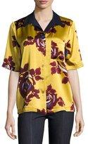 cinq a sept Dani Floral-Print Silk Shirt, Chartreuse/Multicolor