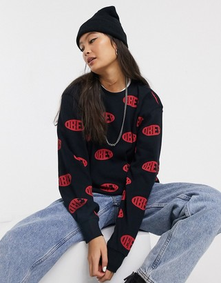 Obey long sleeve t-shirt in logo print waffle