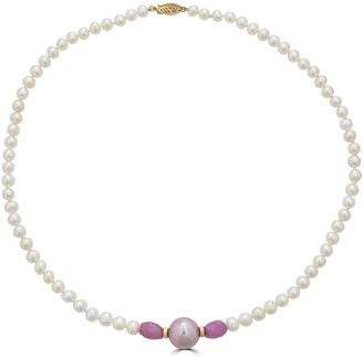BELPEARL 14K Pink Sapphire 12Mm Pink Kasumiga Necklace