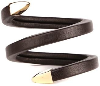 Bottega Veneta Leather & Silver Spiral Bracelet