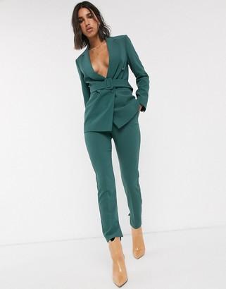 Topshop slim leg trousers co-ord with split hem in sea green