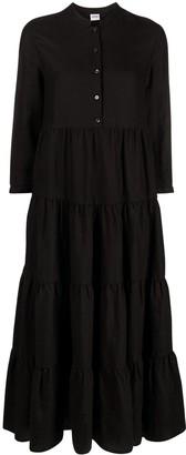 Aspesi Tiered Panel Linen Maxi Dress