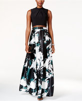 Betsy & Adam Printed Illusion Popover Gown