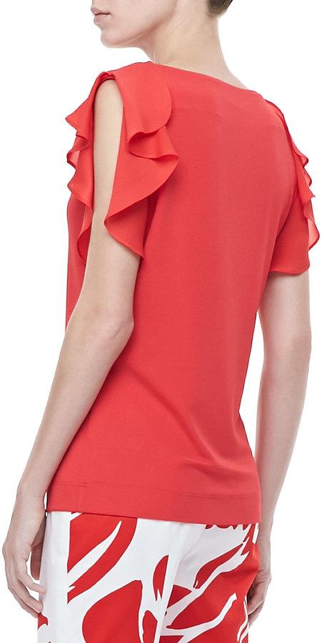Escada Ruffle-Sleeve Silk Top, Poppy