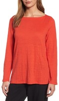 Eileen Fisher Petite Women's Organic Linen Bateau Neck Sweater