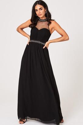Little Mistress Shauna Black Embellished Maxi Dress