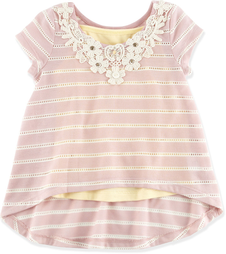 Baby Sara Pointelle-Stripe Draped Top, 2T-4T