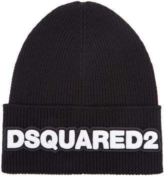 DSQUARED2 Black logo wool beanie