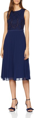 Little Mistress Women's Bead Midi Party Dress