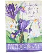 "Evergreen Flowers Of The Field"" Indoor / Outdoor Garden Flag"