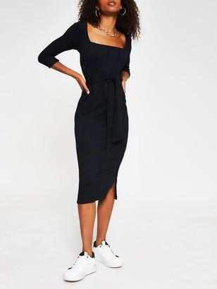 River Island Jersey Rib Tie Waist Square Neck Midi Dress - Black